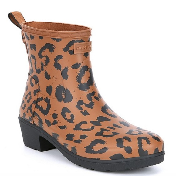 Hunter Boots Refined Leopard Biker Rain